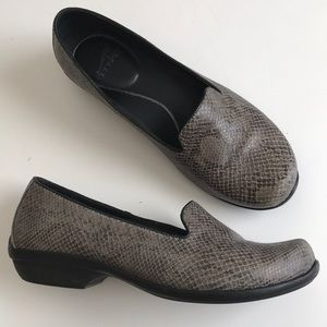 e5222e16f7e Dansko grey snake print leather loafers